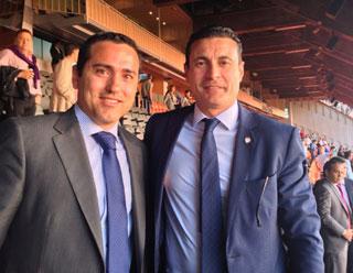 Carlos Ledó y el presidente del Valencia CF Amadeo Salvo Lillo